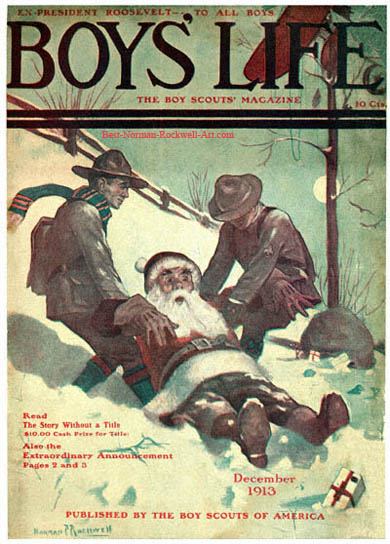 1913-12-Boys-Life-Norman-Rockwell-cover-Santa-and-Scouts-in-Snow-400