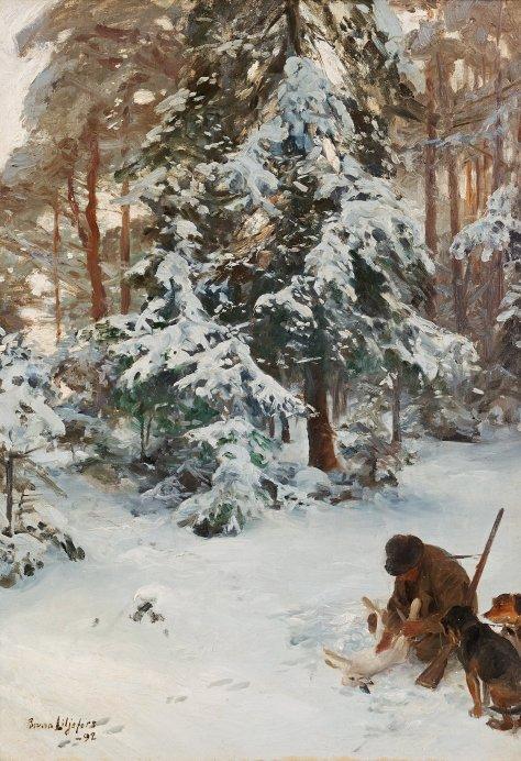 Bruno_Liljefors_-_Vinterlandskap_med_jägare_och_hundar