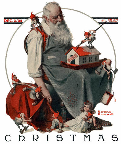 1922-12-02-Saturday-Evening-Post-Norman-Rockwell-cover-Christmas-Santa-with-Elves-no-logo-400