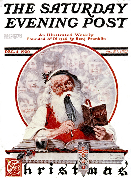 Cover-1920-12-04-Saturday-Evening-Post-Norman-Rockwell-cover-Santa-And-Expense-Book