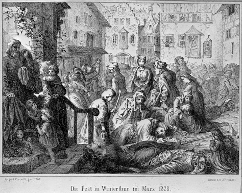 L0004056 The plague in Winterthur in 1328. Lithograph by A. Corrodi,