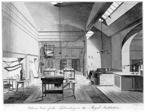M0009405 The Royal Institution, Albemarle Street: the laboratory. Eng