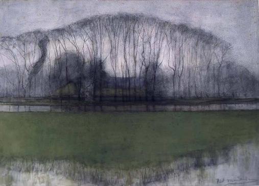 Mondriaan_-_Bomenrij_in_drassig_landschap,_bij_Duivendrecht