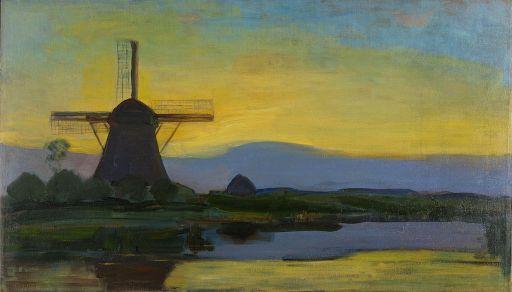 Oostzijde_windmill_at_night,_by_Piet_Mondriaan