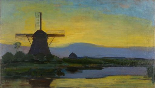 Oostzijde_windmill_at_night,_by_Piet_Mondriaan
