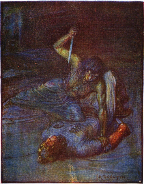 Stories_of_Beowulf_water_witch_trying_to_stab_beowulf