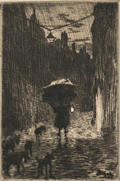 Félix_Buhot_-_Pluie_et_Parapluie