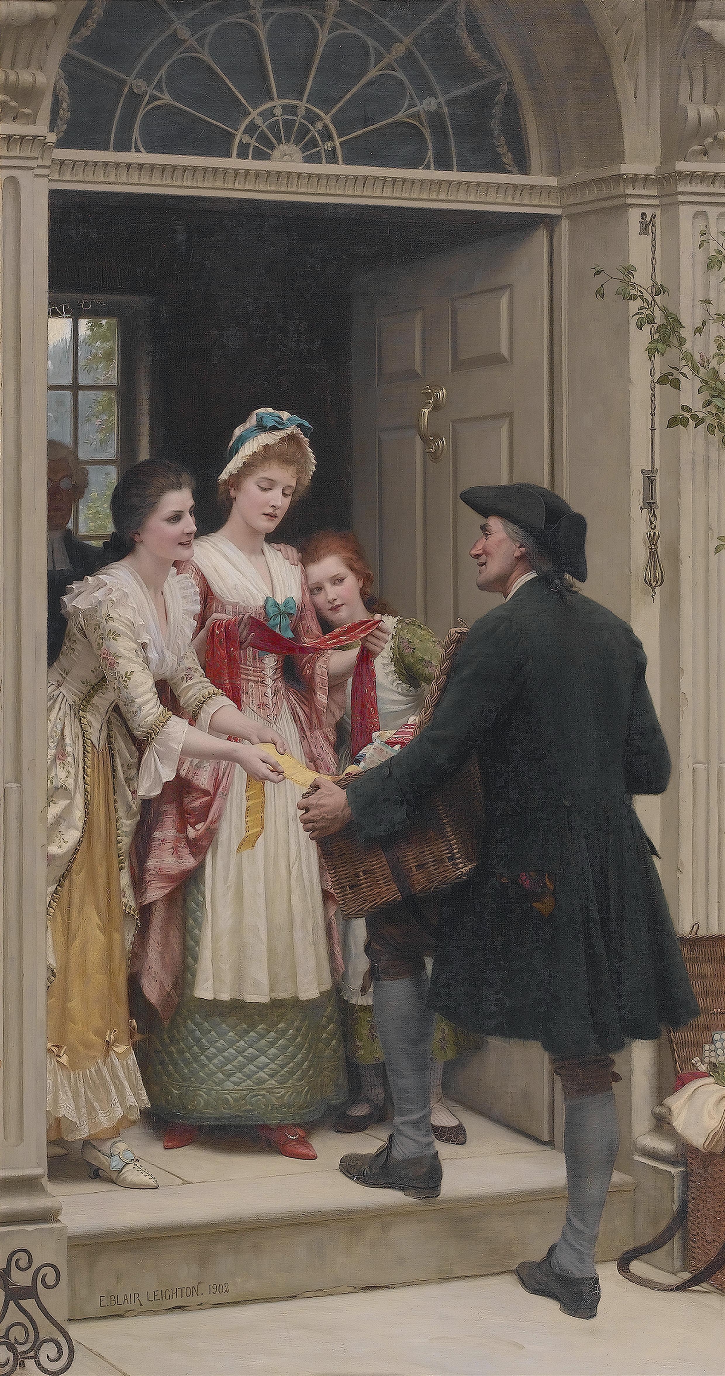 Ribbons and laces for very pretty faces, by Edmund Blair Leighton