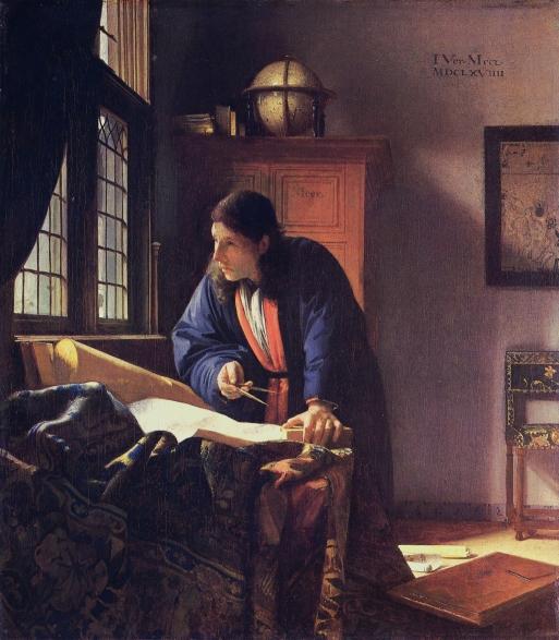 J._VERMEER_-_El_geógrafo_(Museo_Städel,_Fráncfort_del_Meno,_1669)