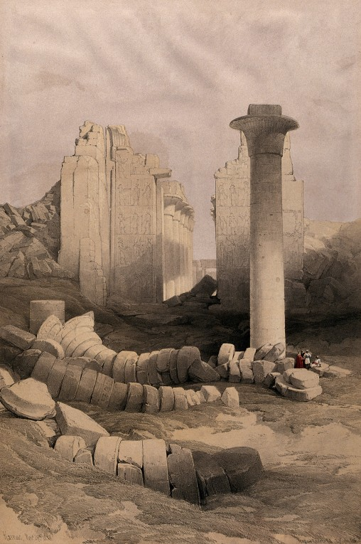 V0049339 Column of the pharaoh Taharqa, with temple ruins at Karnac,