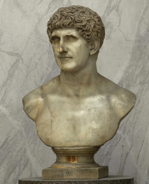 Roman male portrait bust, so-called Marcus Antonius. Fine-grained yellowish marble. Flavian age (69—96 A.D.). Rome, Vatican Museums, Chiaramonti Museum.