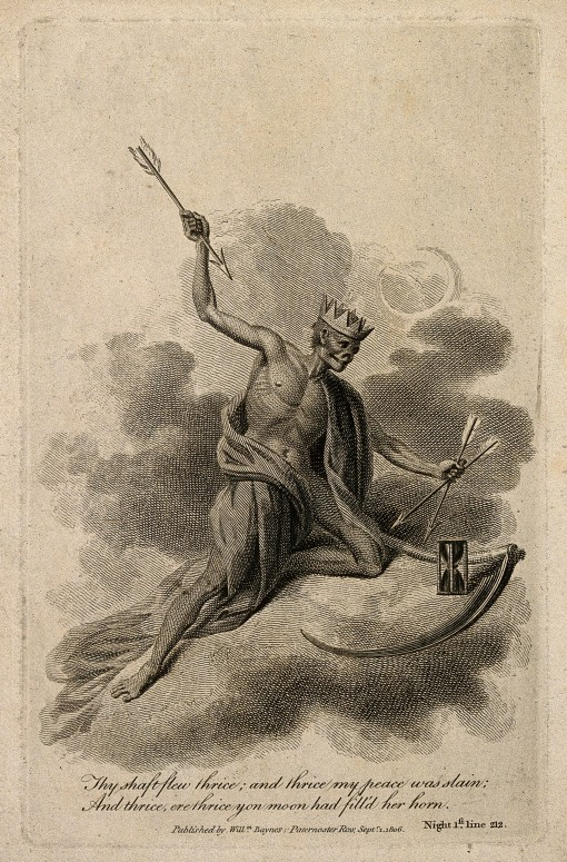V0007583 A crowned skeleton with three arrows. Etching, 1806.