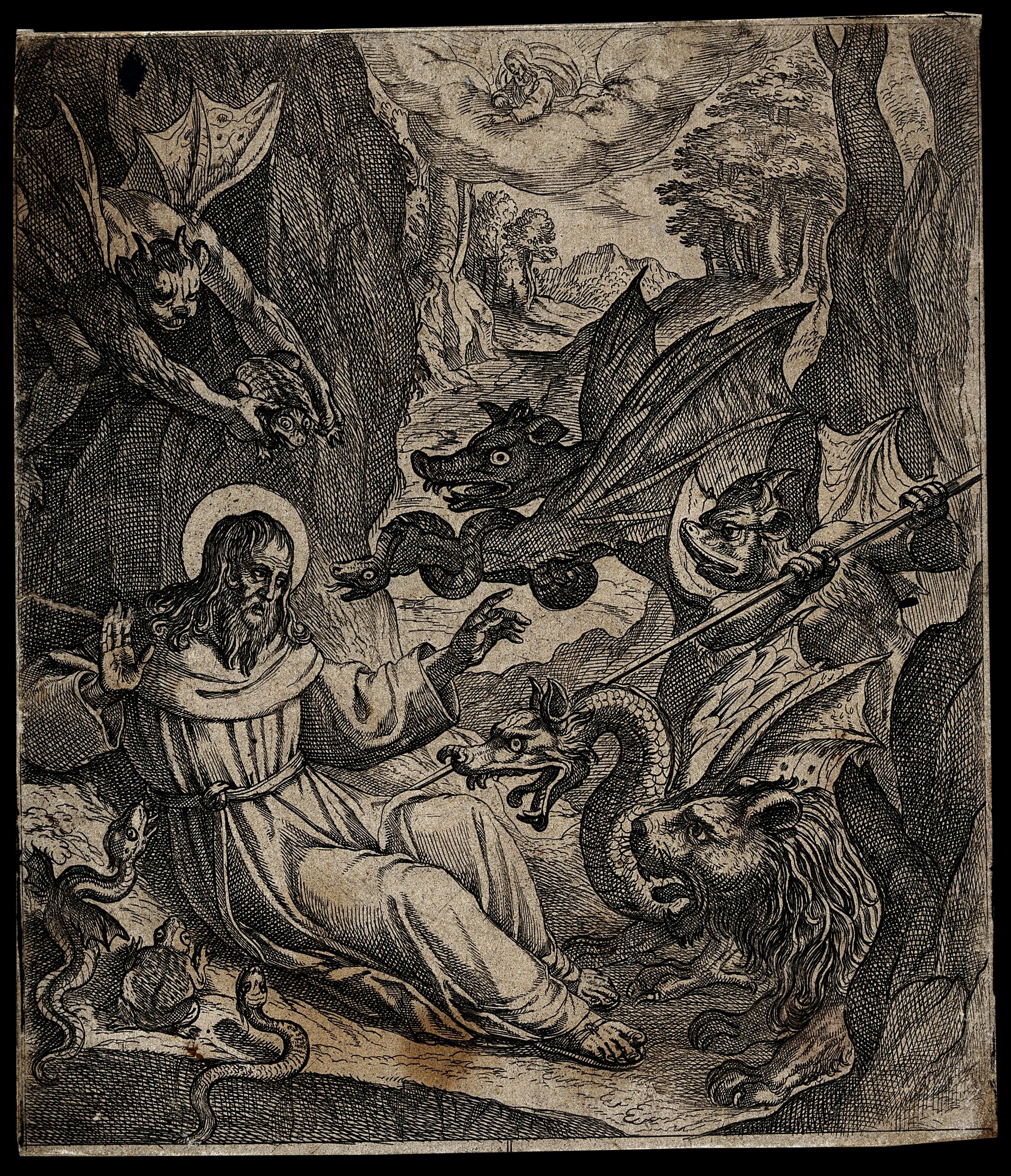 V0031595 Temptation of Saint Antony. Engraving.