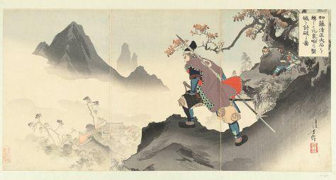 1024px-Kato_Kiyomasa_het_paleis_van_Orankai_vernietigend_en_innemend_door_een_rotsblok_naar_beneden_te_rollen.-Rijksmuseum_RP-P-1983-387